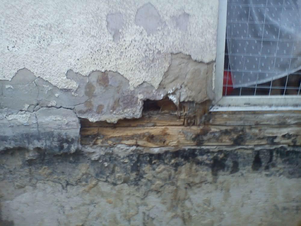 uszkodzona ściana po rozbiórce tarasu ,widoczne legary parte.jpg