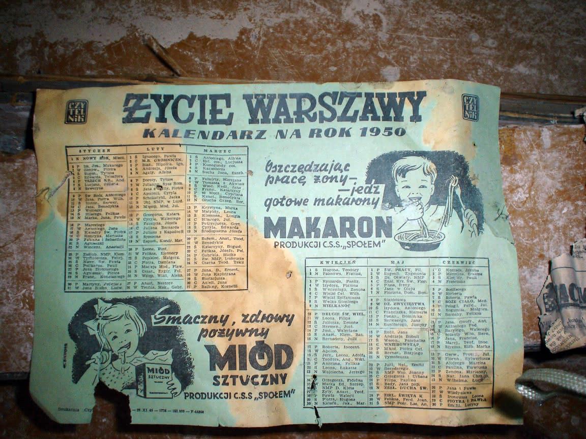 kalendarz na rok 1950