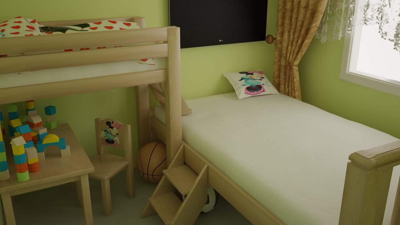Pokój sypialny w M-3 kolor zielony